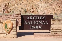 Muestra en la entrada al parque nacional de los arcos Imágenes de archivo libres de regalías