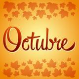 Muestra española del vector de Octubre - de octubre Fotografía de archivo