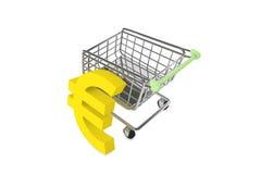 Muestra euro con la carretilla de las compras Foto de archivo libre de regalías