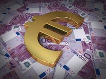 Muestra euro del billete de banco y del oro Fotos de archivo