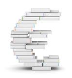 Muestra euro, empilada de los libros en blanco Imagen de archivo libre de regalías