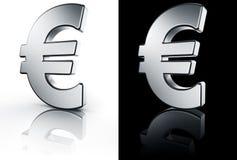 Muestra euro en el suelo reflexivo blanco y negro Fotografía de archivo libre de regalías