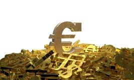 Muestra euro en una pila de otros símbolos de moneda stock de ilustración