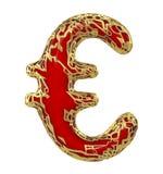 Muestra euro hecha en 3D metálico brillante de oro con la pintura roja en el fondo blanco Stock de ilustración