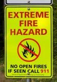 Muestra extrema del riesgo de incendios Fotografía de archivo