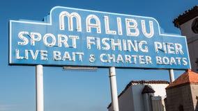 Muestra famosa de Malibu fotografía de archivo