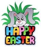 Muestra feliz de Pascua con el conejito lindo ilustración del vector
