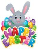 Muestra feliz de Pascua con el conejito y los huevos libre illustration