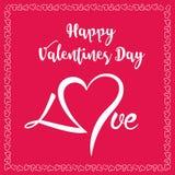 Muestra feliz del día de tarjetas del día de San Valentín En fondo rojo con los corazones en frontera ilustración del vector
