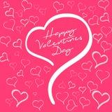 Muestra feliz del día de tarjetas del día de San Valentín Forma del corazón en fondo rojo con los corazones Fotos de archivo libres de regalías