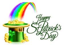 Muestra feliz del día del St Patricks del arco iris del sombrero del duende libre illustration