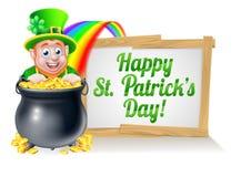 Muestra feliz del duende del día del St Patricks Foto de archivo