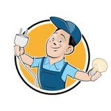 Muestra feliz del electricista Foto de archivo
