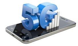 muestra 5G en la pantalla elegante del teléfono Tecnología móvil de alta velocidad del web Imagenes de archivo