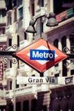 Muestra Gran del metro vía en la ciudad borrosa, Madrid fotografía de archivo libre de regalías