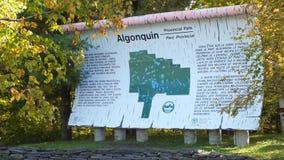 Muestra grande de la corteza de abedul en la puerta del oeste del parque del Algonquin Foto de archivo libre de regalías