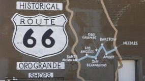 Muestra histórica de Route 66 Imagen de archivo libre de regalías
