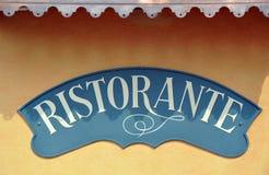 Muestra italiana del restaurante con el sitio Fotos de archivo