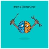 Muestra izquierda y derecha creativa del cerebro con destornillador y la llave Imagen de archivo libre de regalías
