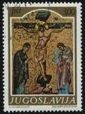 Muestra la crucifixión del icono del medievel Fotografía de archivo