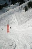 Muestra lenta de los esquiadores del esquí Fotografía de archivo
