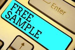 Muestra libre del texto de la escritura Concepto que significa la porción de productos dados a los consumidores en la intención d imagen de archivo libre de regalías