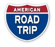 Muestra Logo Art de América del viaje por carretera stock de ilustración