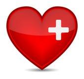 Muestra médica de los primeros auxilios en dimensión de una variable roja del corazón. Fotos de archivo libres de regalías