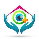 Muestra m?dica del elemento del icono del logotipo del concepto de la salud de la familia del globo del cuidado del ojo en el fon fotografía de archivo