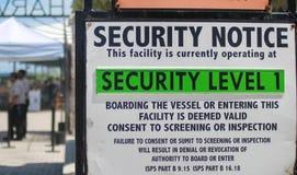 Muestra marítima de la advertencia de seguridad de MARSEC fotografía de archivo