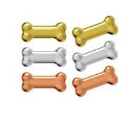 Muestra metálica del animal doméstico del hueso de oro Imagen de archivo libre de regalías