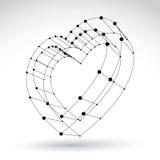 muestra monocromática del corazón del amor del web elegante de la malla 3d Foto de archivo libre de regalías