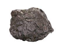 Muestra natural de carbón de antracita en el fondo blanco imagen de archivo