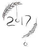 muestra negra de la tinta 2017 con las ramas y las bolas spruce del tintineo, caligrafía dibujada mano del cepillo Fotos de archivo libres de regalías