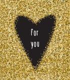 Muestra negra del corazón aislada en fondo del brillo del oro Diseñe para la invitación de boda, tarjeta del día de San Valentín, Fotos de archivo