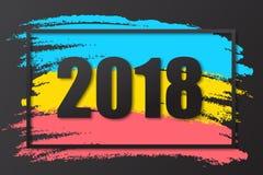 muestra negra 2018 en fondo coloreado con el marco negro Plantilla del diseño del Año Nuevo del vector 2018 Imágenes de archivo libres de regalías