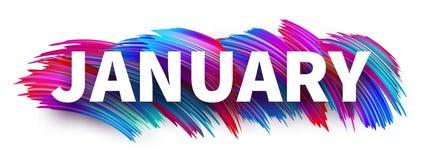 Muestra o bandera de enero con diseño colorido del movimiento del cepillo en pizca stock de ilustración