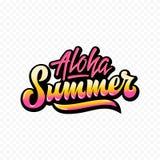 Muestra o cartel de las letras de Aloha Summer Abstract Vector Hand Pendiente amarilla rosada Fotos de archivo libres de regalías