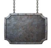 Muestra o marco medieval del metal con las cadenas aisladas Fotografía de archivo
