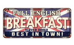 Muestra oxidada del metal del vintage del desayuno inglés lleno Imagen de archivo