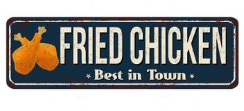 Muestra oxidada del metal del vintage del pollo frito Imagen de archivo libre de regalías