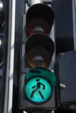 Muestra peatonal verde del semáforo Imagen de archivo
