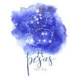 Muestra Piscis de la astrología ilustración del vector