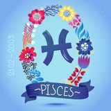Muestra PISCIS del zodiaco, en una guirnalda floral dulce Muestra, flores, hojas y cinta del horóscopo Fotos de archivo libres de regalías