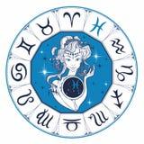 Muestra Piscis del zodiaco una muchacha hermosa horoscope astrología Vector ilustración del vector
