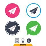 Muestra plana de papel Símbolo del aeroplano Icono del recorrido Imagenes de archivo