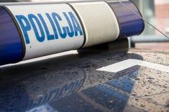 Muestra polaca del coche policía Foto de archivo libre de regalías