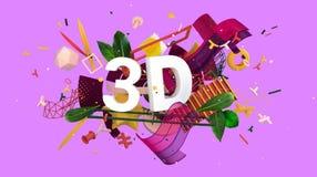 Muestra positiva y colorida del extracto 3D ilustración del vector