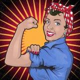 Muestra potente fuerte retra de la revolución de la mujer Imagen de archivo