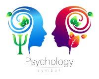 Muestra principal moderna del logotipo de la psicología Ser humano del perfil hojas del verde Letra PSI Símbolo en vector Concept Imagen de archivo libre de regalías